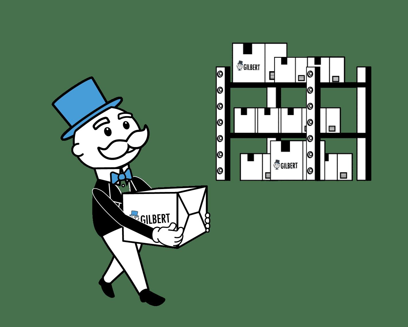 Gilbert déponsant des cartons